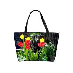 Black Gsd Pup Large Shoulder Bag