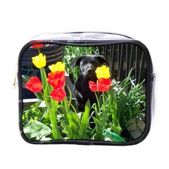 Black Gsd Pup Mini Travel Toiletry Bag (one Side)
