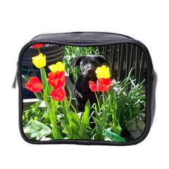 Black Gsd Pup Mini Travel Toiletry Bag (two Sides)