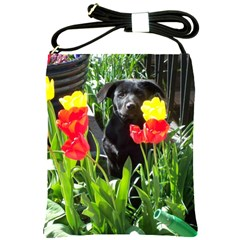 Black Gsd Pup Shoulder Sling Bag