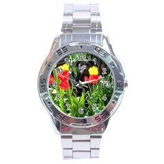 Black GSD Pup Stainless Steel Watch