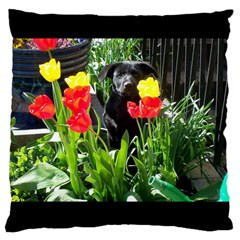 Black GSD Pup Large Cushion Case (Two Sided)