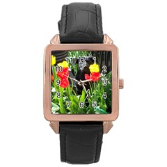 Black GSD Pup Rose Gold Leather Watch