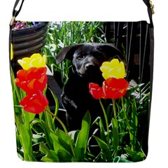 Black GSD Pup Flap Closure Messenger Bag (Small)