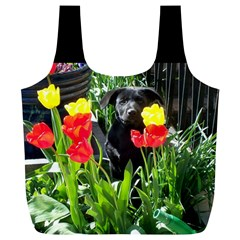 Black Gsd Pup Reusable Bag (xl)