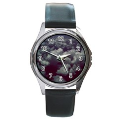 Through The Evening Clouds Round Leather Watch (Silver Rim)