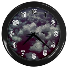 Through The Evening Clouds Wall Clock (black)