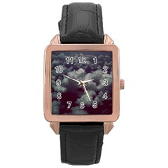Through The Evening Clouds Rose Gold Leather Watch