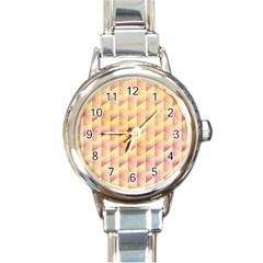 Geometric Pink & Yellow  Round Italian Charm Watch