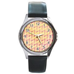 Geometric Pink & Yellow  Round Leather Watch (Silver Rim)