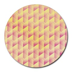 Geometric Pink & Yellow  8  Mouse Pad (Round)