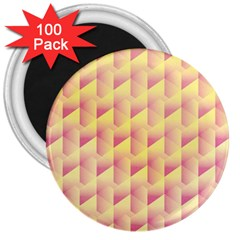 Geometric Pink & Yellow  3  Button Magnet (100 Pack)