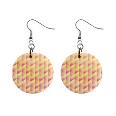 Geometric Pink & Yellow  Mini Button Earrings
