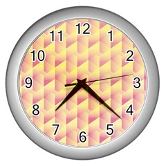 Geometric Pink & Yellow  Wall Clock (silver)