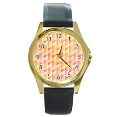 Geometric Pink & Yellow  Round Leather Watch (gold Rim)