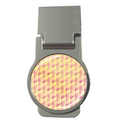 Geometric Pink & Yellow  Money Clip (Round)