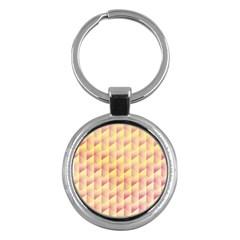 Geometric Pink & Yellow  Key Chain (round)