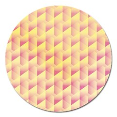 Geometric Pink & Yellow  Magnet 5  (Round)