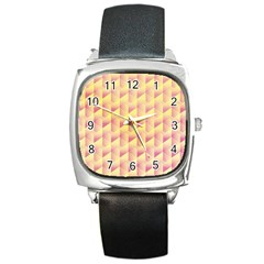 Geometric Pink & Yellow  Square Leather Watch