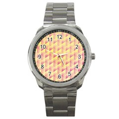 Geometric Pink & Yellow  Sport Metal Watch