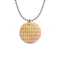 Geometric Pink & Yellow  Button Necklace