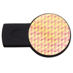 Geometric Pink & Yellow  4GB USB Flash Drive (Round)