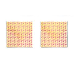 Geometric Pink & Yellow  Cufflinks (square)
