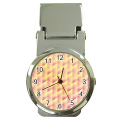 Geometric Pink & Yellow  Money Clip with Watch