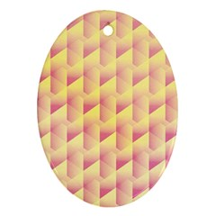 Geometric Pink & Yellow  Oval Ornament (Two Sides)