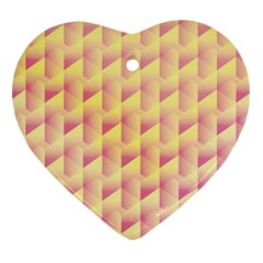 Geometric Pink & Yellow  Heart Ornament (Two Sides)