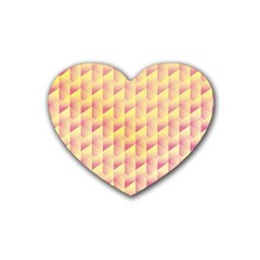 Geometric Pink & Yellow  Drink Coasters 4 Pack (Heart)