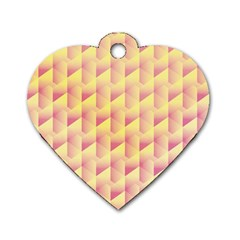 Geometric Pink & Yellow  Dog Tag Heart (two Sided)