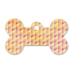 Geometric Pink & Yellow  Dog Tag Bone (two Sided)