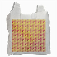 Geometric Pink & Yellow  White Reusable Bag (Two Sides)