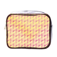 Geometric Pink & Yellow  Mini Travel Toiletry Bag (one Side)