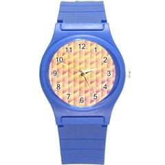 Geometric Pink & Yellow  Plastic Sport Watch (Small)