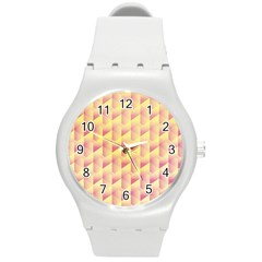 Geometric Pink & Yellow  Plastic Sport Watch (Medium)