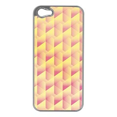 Geometric Pink & Yellow  Apple iPhone 5 Case (Silver)