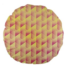 Geometric Pink & Yellow  18  Premium Round Cushion