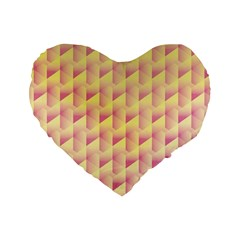 Geometric Pink & Yellow  16  Premium Heart Shape Cushion