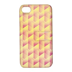 Geometric Pink & Yellow  Apple Iphone 4/4s Hardshell Case With Stand