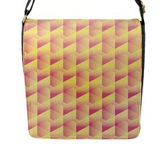 Geometric Pink & Yellow  Flap Closure Messenger Bag (Large)