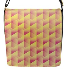Geometric Pink & Yellow  Flap Closure Messenger Bag (Small)