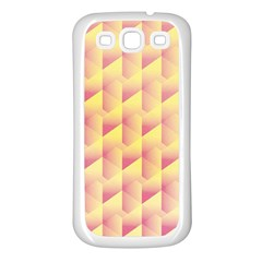 Geometric Pink & Yellow  Samsung Galaxy S3 Back Case (White)
