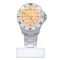 Geometric Pink & Yellow  Nurses Watch