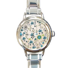 Whimsical Flowers Blue Round Italian Charm Watch