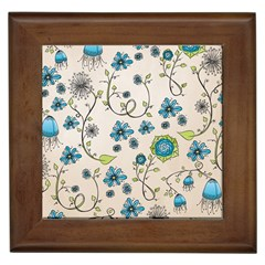 Whimsical Flowers Blue Framed Ceramic Tile