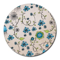 Whimsical Flowers Blue 8  Mouse Pad (round)