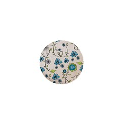 Whimsical Flowers Blue 1  Mini Button