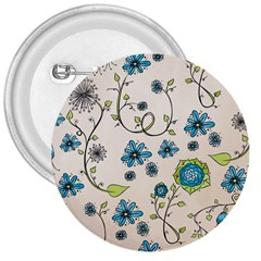 Whimsical Flowers Blue 3  Button